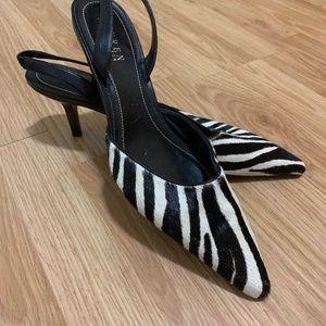 Ralph Lauren Zebra Sling Back Heels